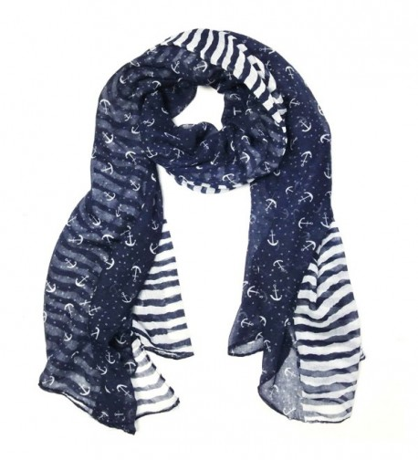 "ALLYDREW Stripes & Anchor Marine Scarf Nautical Scarf Lightweight Scarf (72"" x 42"") - CT11M4JJ4I1"