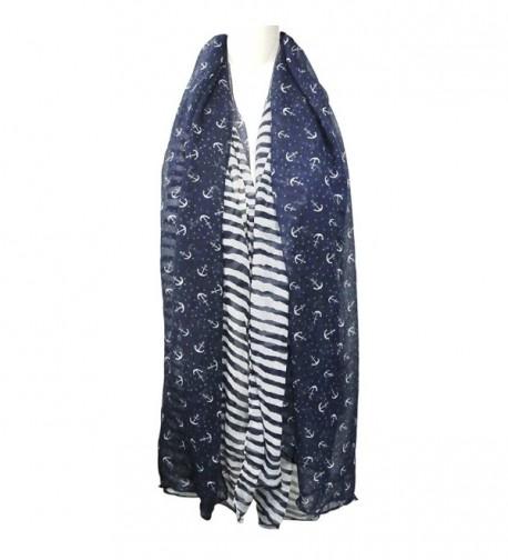 ALLYDREW Stripes Anchor Nautical Lightweight in Fashion Scarves