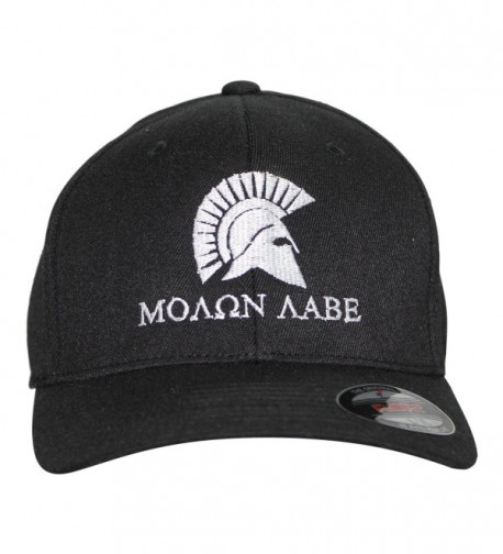 Bang Bang Apparel Men's 'Molon Labe' Embroidered Flexfit Baseball Cap - Black With White Stitching - CD184EZOE2O