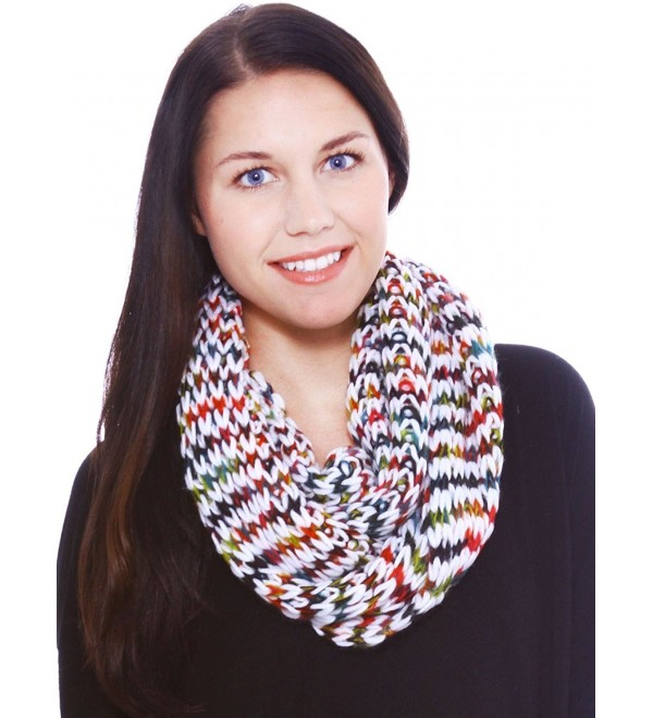 Hand Made Cowl Neck Scarf in Acrylic Material- Heavy Knit- White- Christmas Noel - CH11GGUQFW7