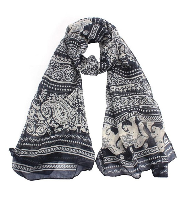 Clearance! Women Boho Elephant Print Lightweight Voile Scarves Shawl Wrap Antumn Winter Scarf - Blue - CJ188U6QK6U