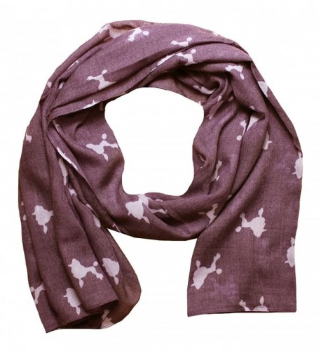 Women Scarf Poodle Dogs Print Design Lightweight Scarves for Lady - Dusty Rose - C718753OWOX