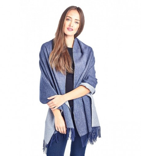 High Style Lambswool Oversized Pashmina - Navy Blue / Lt Grey - CX185HH7IO5