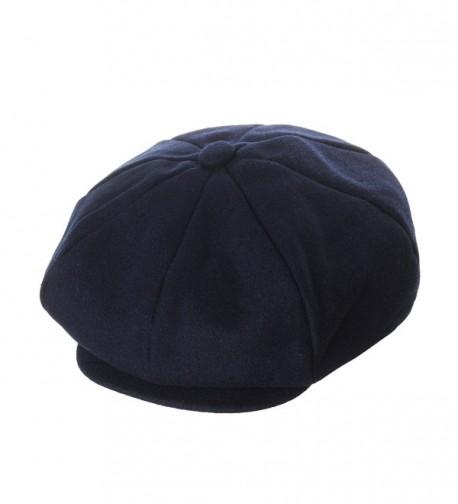 WITHMOONS Wool Blend Baker Boy Flat Cap Monochrome Beret IVY Hat LD3558 - Navy - CC12NUAYZW4