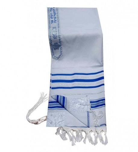 """Acrylic Tallit (imitation Wool) Prayer Shawl in Blue and Silver Size 18"""" L X 72"""" W - CH1121YUCTJ"""