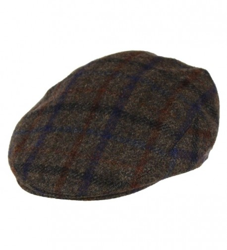 100% Wool Men's Grey Plaid Winter Irish Ivy Cabbie Hat - Lightweight Flat Cap - C4185XMZCC2