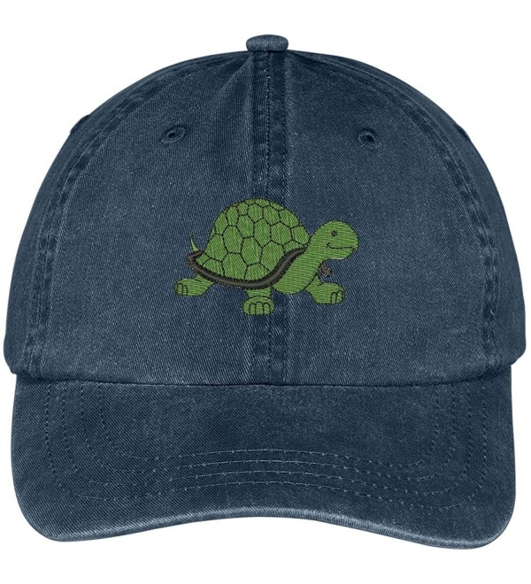 Trendy Apparel Shop Turtle Embroidered Pigment Dyed Washed Cotton Baseball Cap - Navy - C512G5ZH0YJ
