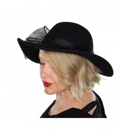 Evelyn Wool Bucket Hat Wide Brim Vintage Cloche Flapper Tea Party Church with Flower - Black - CY12MY6U8F8