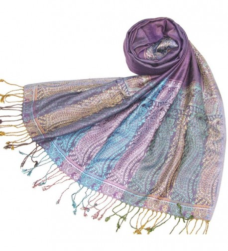 Lovarzi Women's Pashmina Scarf Shawl - Chic Paisley Scarves for Ladies & Girls - Purple - CJ116L8JOZT