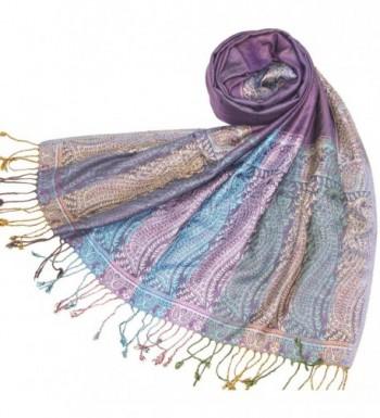 Lovarzi Women's Pashmina Scarf Shawl - Chic Paisley Scarves for Ladies & Girls - Purple - CJ116L8JOZT