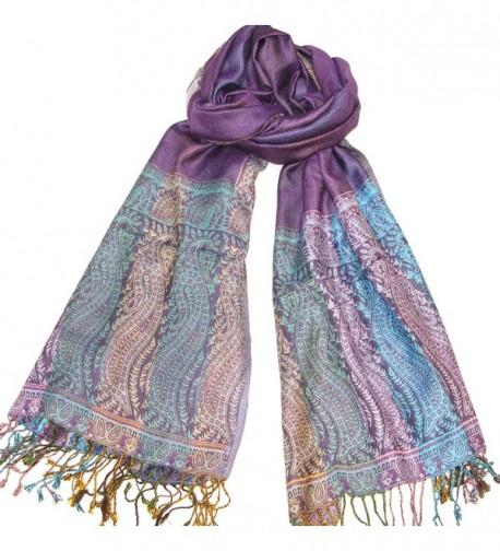 Lovarzi Womens Purple Paisley Pashmina