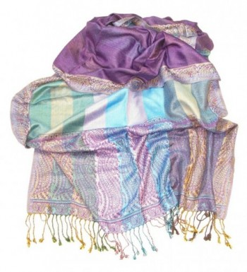 Lovarzi Womens Purple Paisley Pashmina in Fashion Scarves
