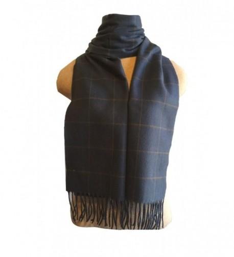 Fur Traders 100% Cashmere Scarf - Camel/Blue Tartan - CG12NZOC7RN