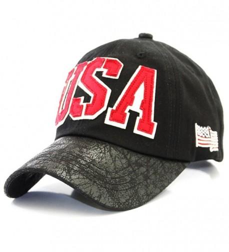 USA with American Flag New York Vintage Baseball Cap Hat - Black - CZ12HJWL6GP