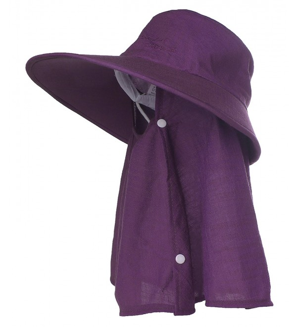 Kaisifei Women's Sunhat Bucket Hat with Neck Cover and Mask - Deep Purple - CN12EBCO5W3