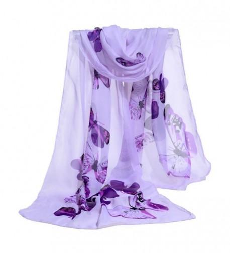 Deamyth Women Chiffon Scarf Colorful Butterfly Clear Wrap Shawl Headscarf - Purple - C612O2LSBH1