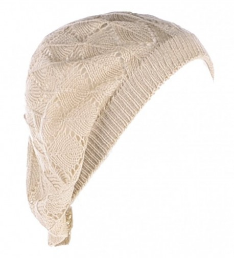 Be Your Own Style BYOS Womens Airy Cutout Lightweight Leafy Crochet Beret Beanie Hat (Lt. Beige Leafy) - CL12MA92MN2