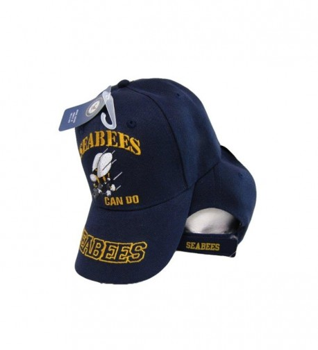 U.S. Navy USN Seabees Can Do Sea Bees Navy Blue Embroidered Cap Hat - C11853IHTU0