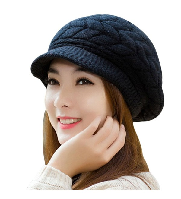 SportsWell Women's Solid Warm Knitted Hat Winter Ear Protective Cozy Caps - Black - CP12MYSW90S