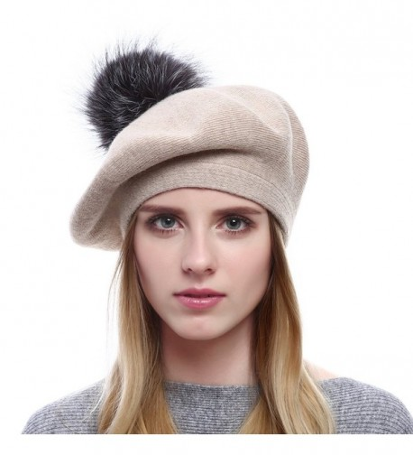 Moncey Winter Berets For Womens Wool Beanies Knitted Cashmere Hats With Fox Fur Pompom - Beige - CA187Q097DR