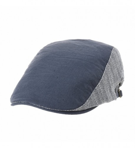 WITHMOONS Summer Linen Flat Cap Two Block Neutral Color IVY Hat LD3051 - Blue - CN180WIMLRC