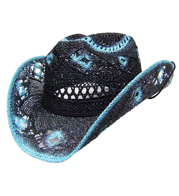 Modestone Women's Straw Cowboy Hat Black Turquoise - CU127MG21NP