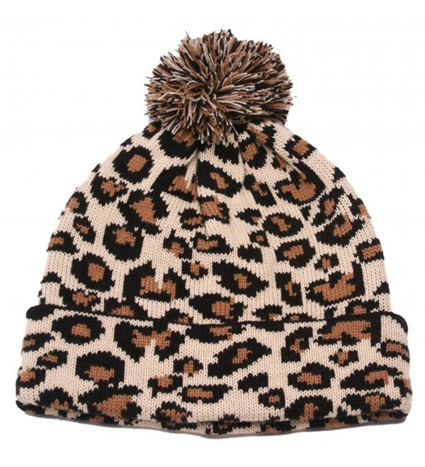 SS/Sophia Winter Leopard Print Cuffed Beanie w/Pom - Camel - C5128NSUFLV