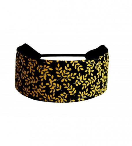 Bargain Headbands- Hot Cocoa Brown- Delicate Foliage Over Black- Pure Black - CW114BMG7P7