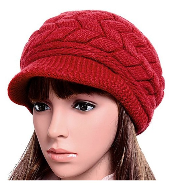 Women Lady Braided Warm Cabled Knit Winter Beanie Crochet Hats Newsboy Caps Red - CF129B3VRPF