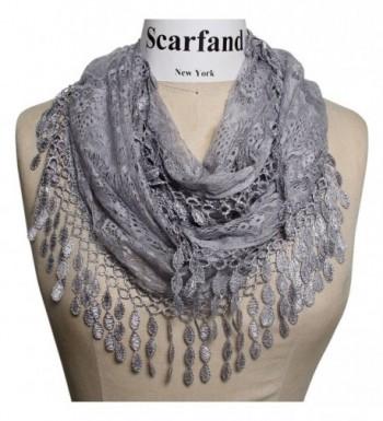 Scarfand's Feminine Lace Infinity Scarf with Teardrop Fringes - Slate - CV11IKCH73F