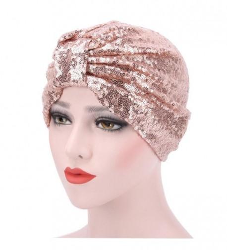 Highpot Women Muslim Flowers Sequins Hat Chemo Cap Head Scarf Wrap Hijib Cap - Beige - C2185387KT4