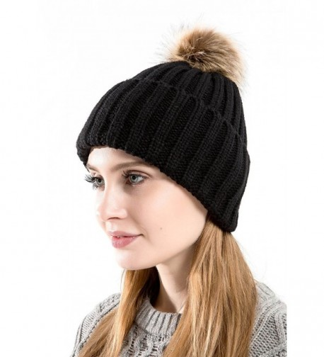 Tossa Winter Beanie For Women Knitted Beanie Cable Knit Hat With Fluffy Pom Pom by - Blk - CF186AH8RO7
