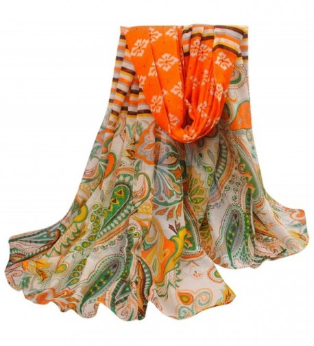 Multi Color Hovsgol Design Voile Pashmina Shawl Scarf Wrap Stole CJ Apparel NEW - Orange & Green - CP11QFD5VZ7