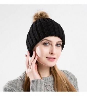 Tossa Womens Knitted Beanie Pom Blk