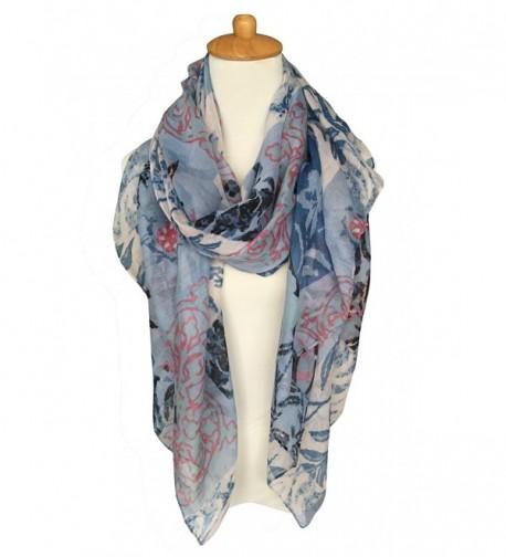 GERINLY Scarves - Womens Shawl Wrap Fashion Print Head Scarf - Bluepink - CQ12O21P3O6
