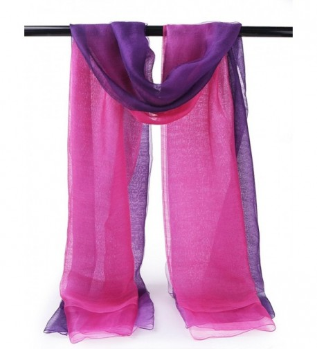 EGO ECHO Scarf Spring Scarfs - Purple & Dark Purple Ombre - Double Layer - Lightweight Wool/Silk Blend Fabric - C31832Q93ME