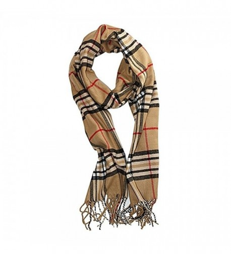 "Classic Soft Plaid Check Winter Scarf Warm Oblong 12""x72"" Fringe Unisex - "" Camel "" - CR1895DO49H"