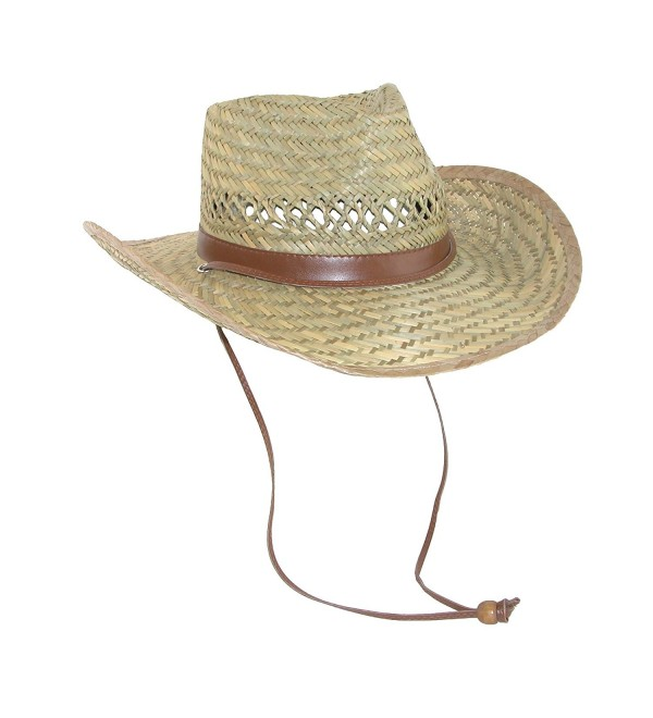 Dorfman Pacific Men's Rush Straw Lightweight Outback Hat with Chin Cord - Natural - CM1170SUFH5