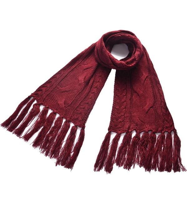Royal Journey Women's Fashion Knit scarf Long Shawl Soft Winter Warm Infinity Scarf - Claret-red - CK12MYAT7T2