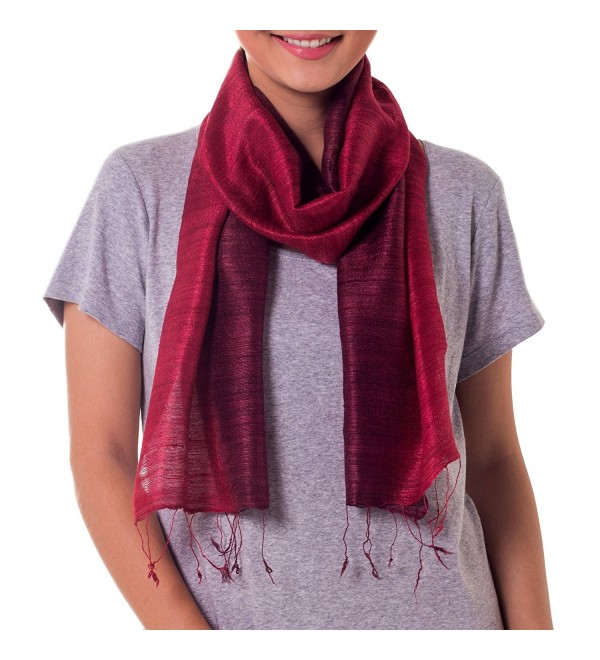 NOVICA Red 100% Ombre Silk Scarf- &lsquoRoses and Red Wine' - CW11D8XVCFP