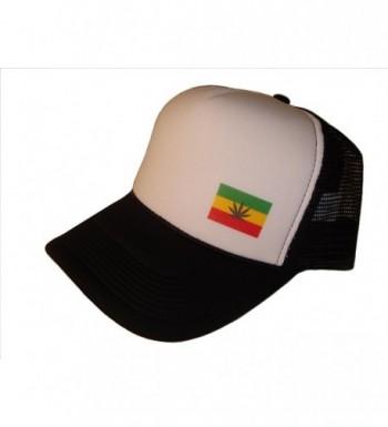 Marijuana Weed Leaf Rasta Flag Mesh Trucker Cap (One Size- Black/White) - CQ11N5ZS9Z7