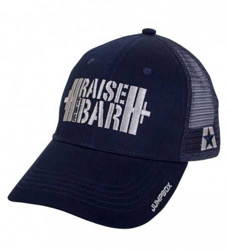 Raise the Bar Barbell Weightlifting - Blue - Curved Bill Snapback Trucker Hat - C212NUQ8MNY