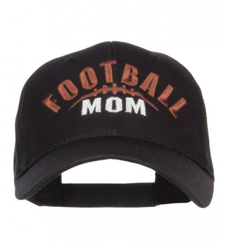 Football Mom Embroidered Organic Cotton Cap - Black - C212LJZ0FUV
