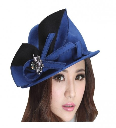 June's Young Fashion Women Winter Hat Bow Brooch Blue Wool Felt Hat Female Fedoras - CR11HMQI0BN