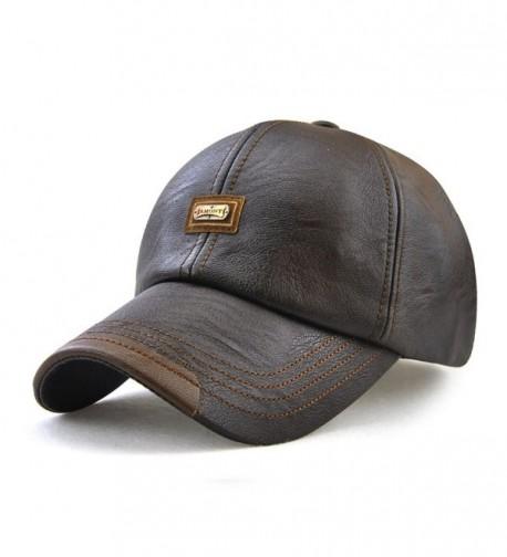 King Star Men Winter Warm Faux Leather Adjustable Baseball Cap - Coffee - CN186S8RZHW