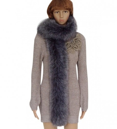 VamJump Women Winter Warm Faux Fox Raccoon Fur Collar Long Scarf - Gray - CF127Z34RHD