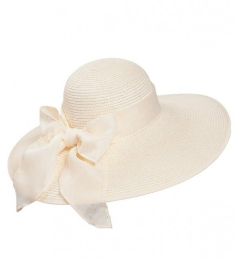 8f15a024d7703 Home Prefer Women s Wide Brim Caps Summer Beach Straw Hats With Bow UPF50+  Sun Caps -