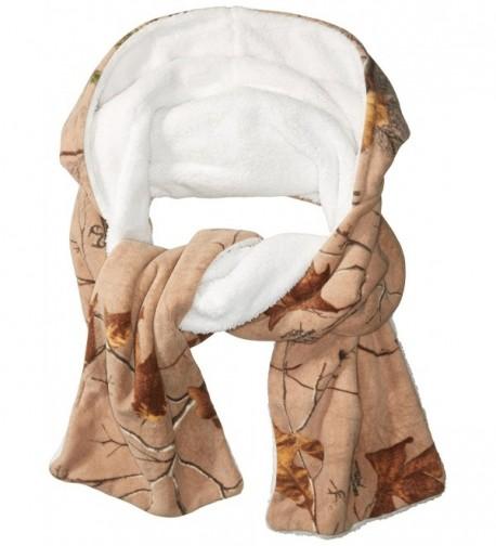 Realtree Women's Printed Fleece Hooded Oblong Scarf With Faux Fur Lining - Tan - CS184E529WW