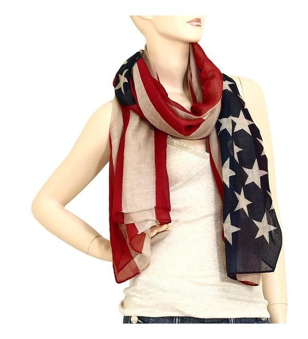 Falari USA American Flag Scarf Beach Wrap Lightweight - Navy- Red & Tan - C512HG37V1V