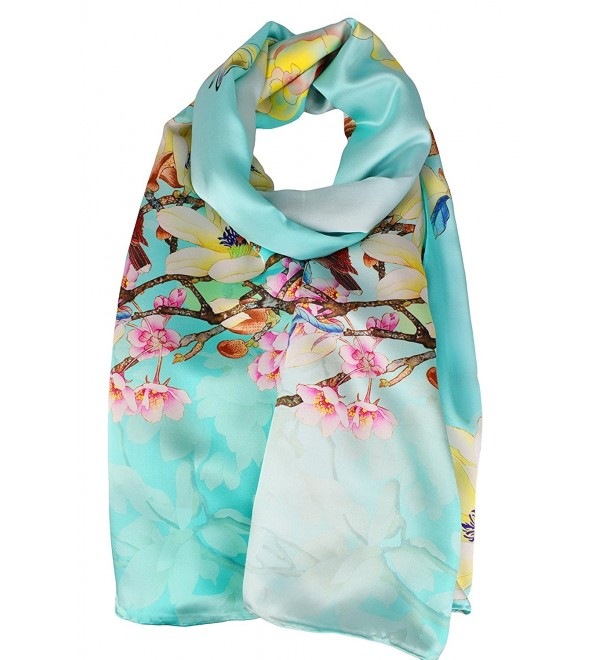 ELEGNA Women's 100% Silk Flower Painting Long Scarf Shawl Hand Rolled Edge - Flower Butterfly - CX12NRQSE5P